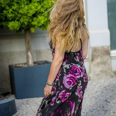 Open back black dress with roses