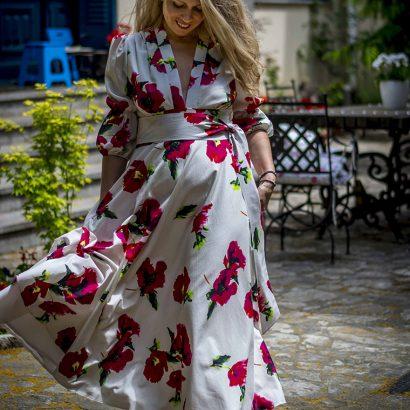 White poppy blossom dress